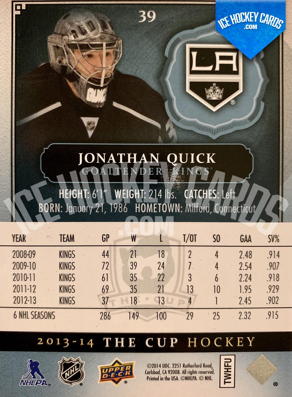 Upper Deck - The Cup 2013-14 - Jonathan Quick Gold Base Card # to 25 back