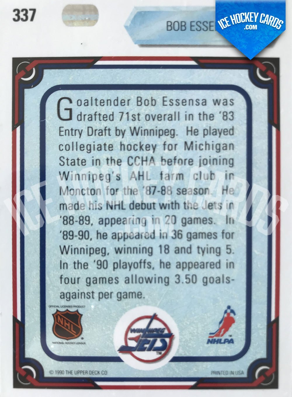 Upper Deck - 90-91 - Bob Essensa All Rookie Team Card back