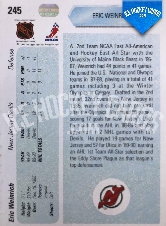 Upper Deck - 90-91 - Eric Weinrich Star Rookie Card back