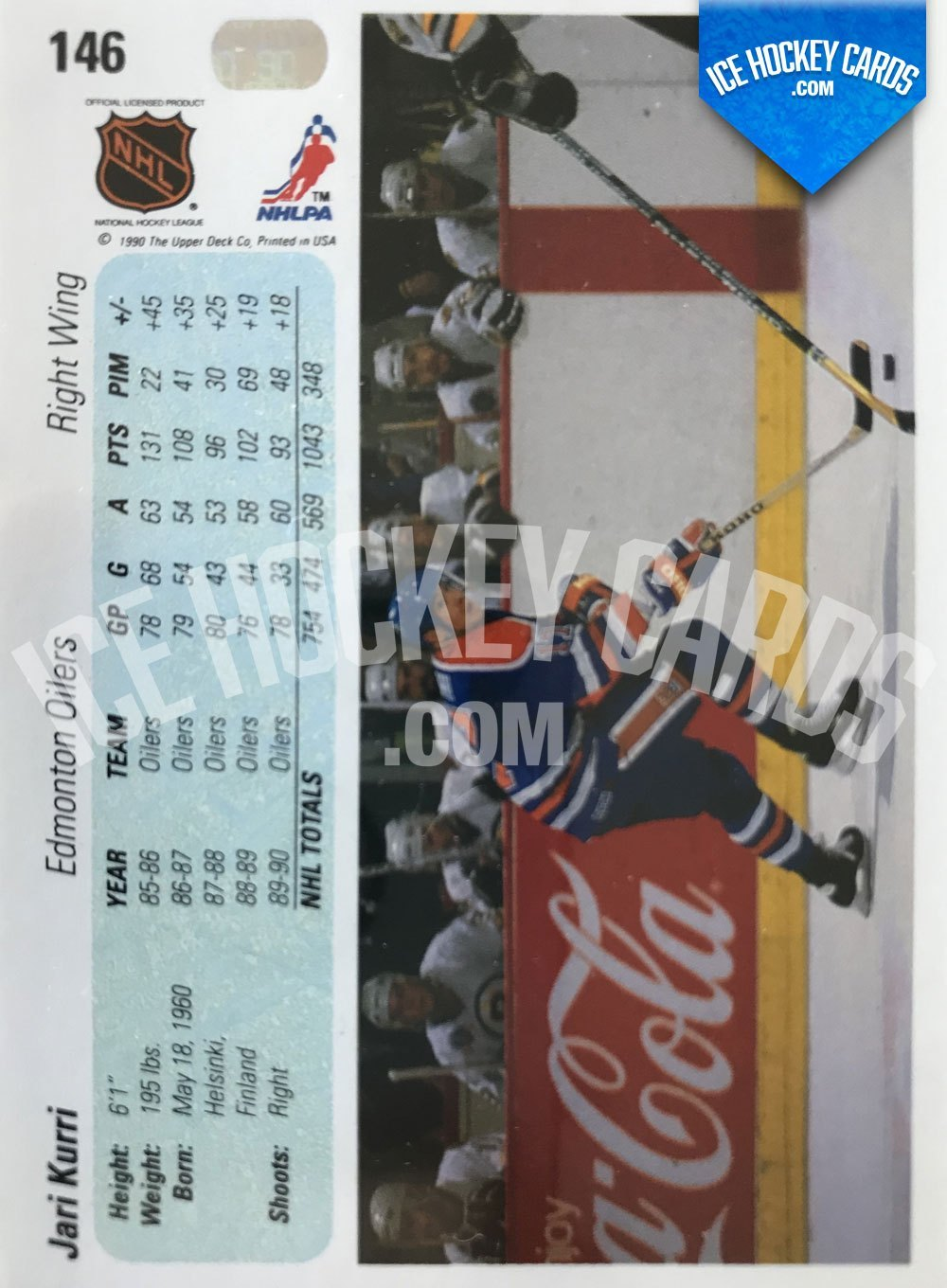 Upper Deck - 90-91 - Jari Kurri Base Card back