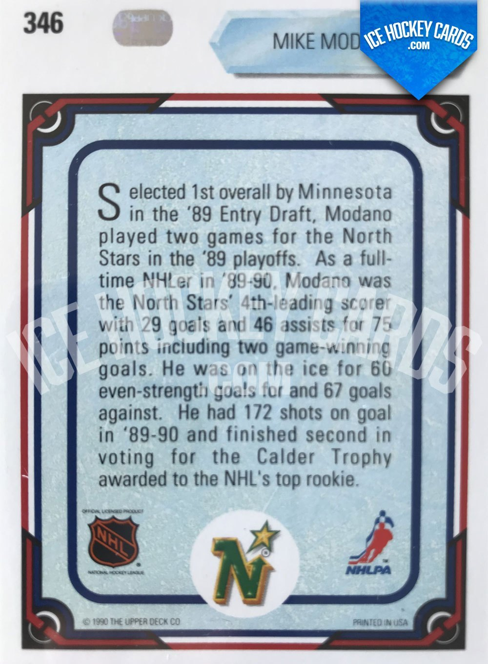 Upper Deck - 90-91 - Mike Modano All Rookie Team Card back