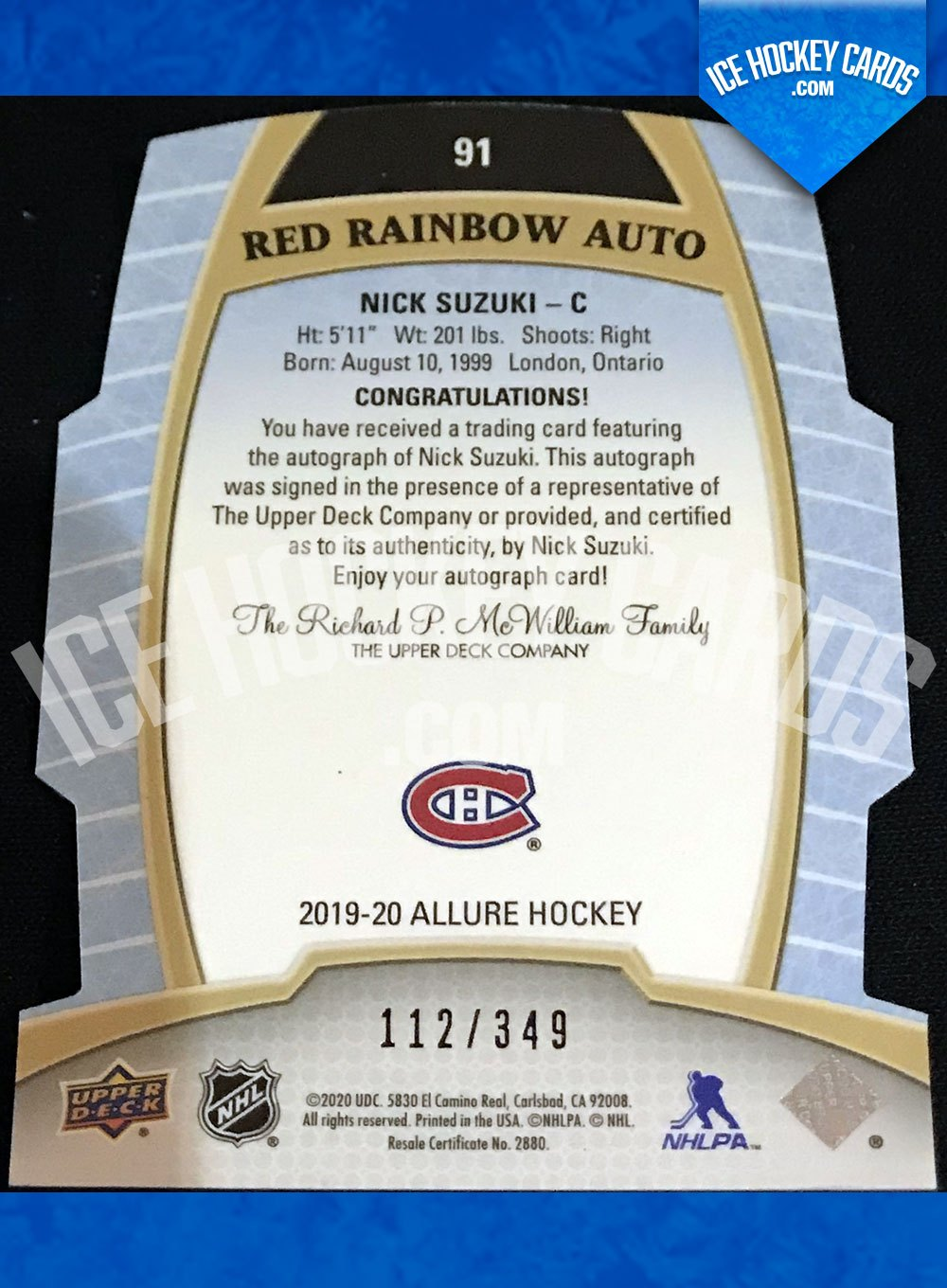 Upper Deck - Allure 19-20 - Nick Suzuki Auto Rookie RC Red Rainbow Auto back