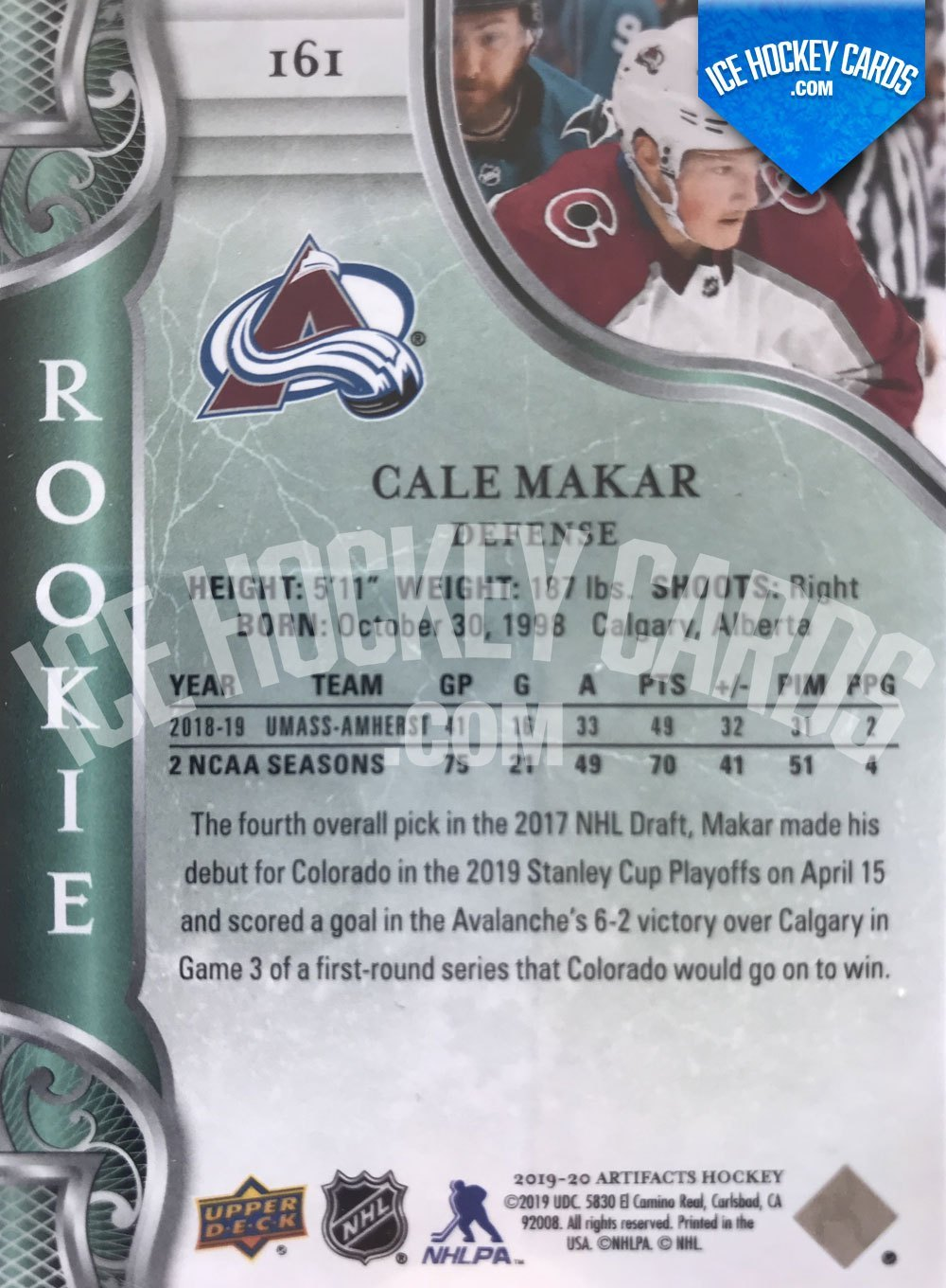 Upper Deck - Artifacts 19-20 - Cale Makar Base Rookie Card back