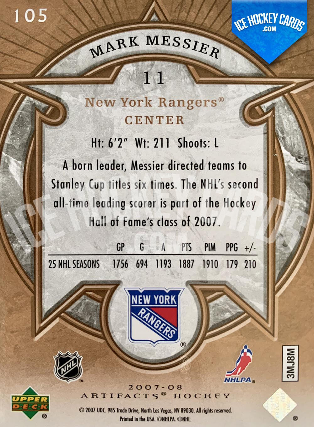Upper Deck - Artifacts 2007-08 - Mark Messier Legends Card back