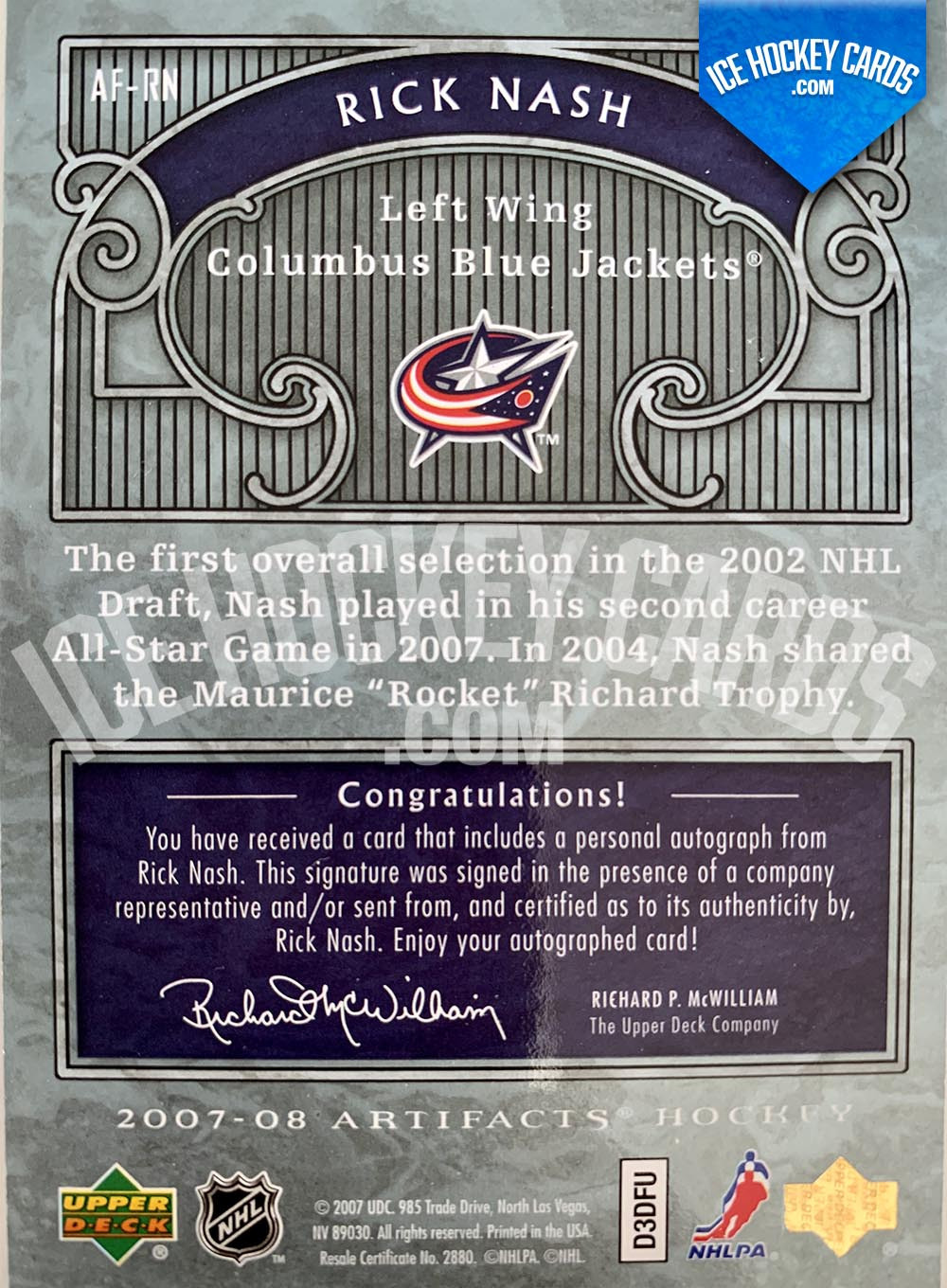 Upper Deck - Artifacts 2007-08 - Rick Nash Autofacts Autograph Card back