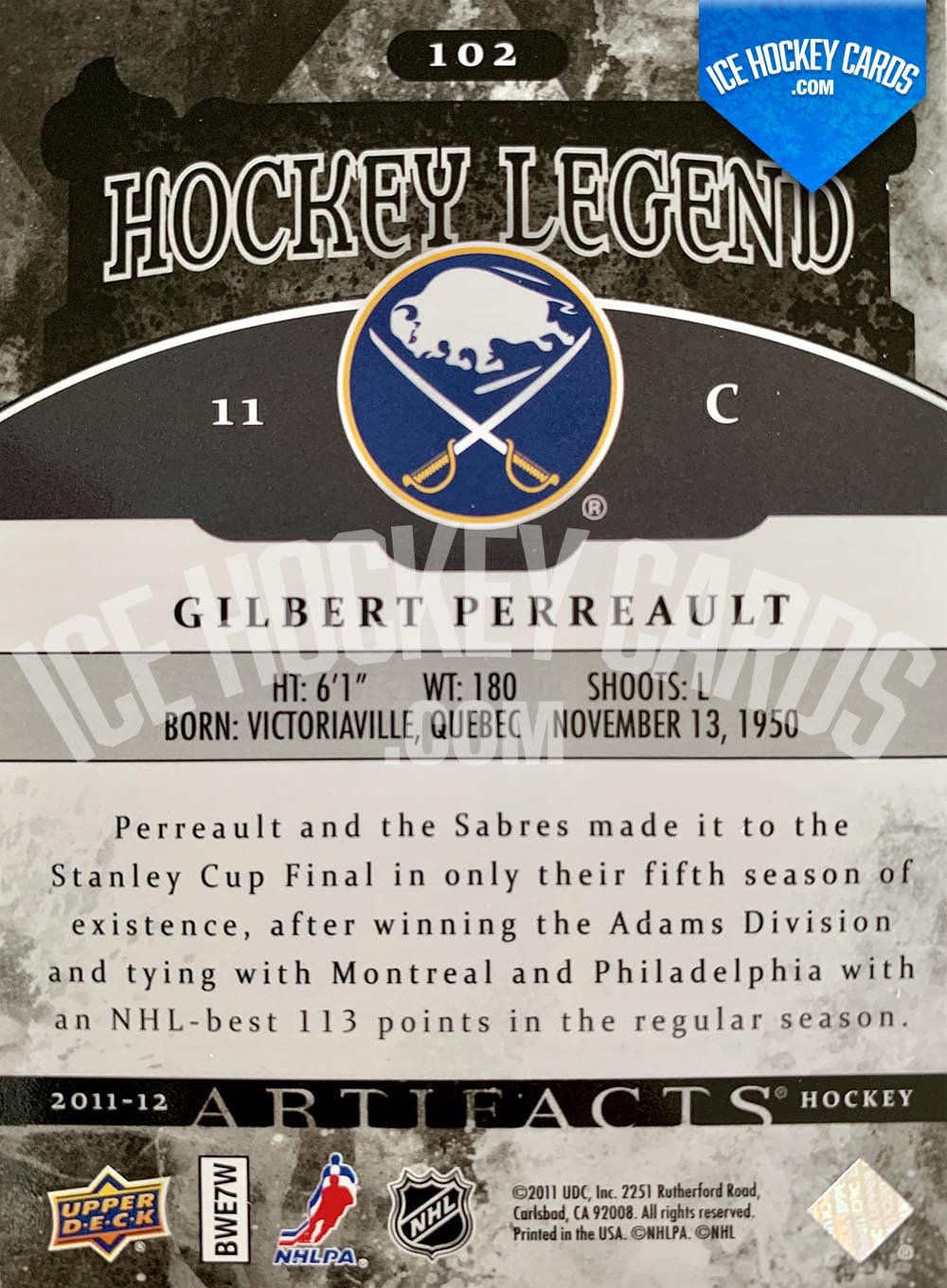 Upper Deck - Artifacts 2011-12 - Gilbert Perreault Hockey Legend back