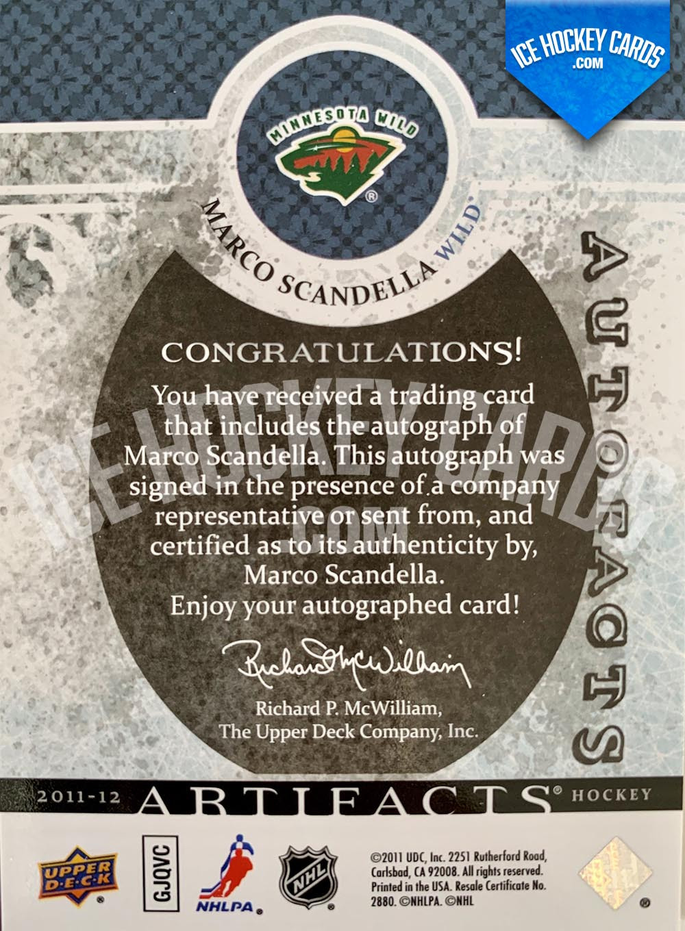 Upper Deck - Artifacts 2011-12 - Marco Scandella Autofacts Autograph back