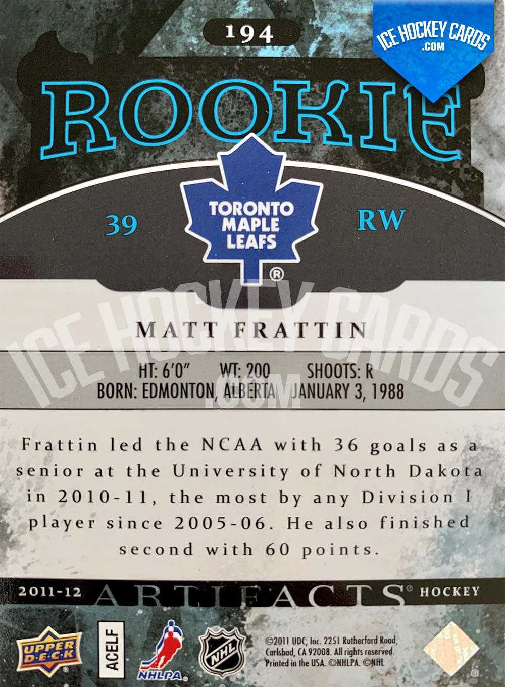 Upper Deck - Artifacts 2011-12 - Matt Frattin Rookie Card back