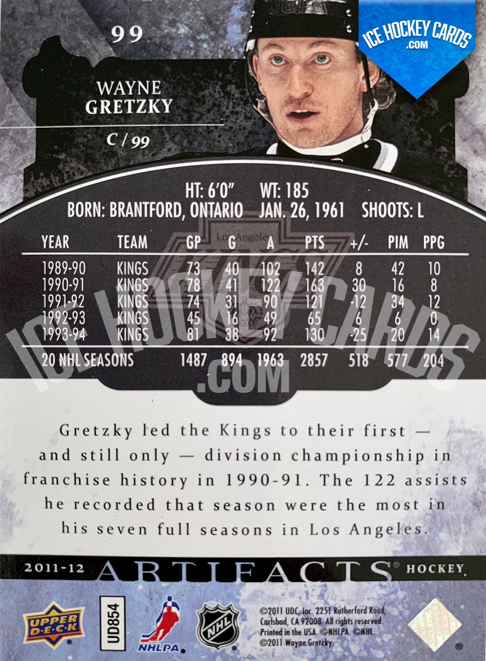 Upper Deck - Artifacts 2011-12 - Wayne Gretzky Base Card back