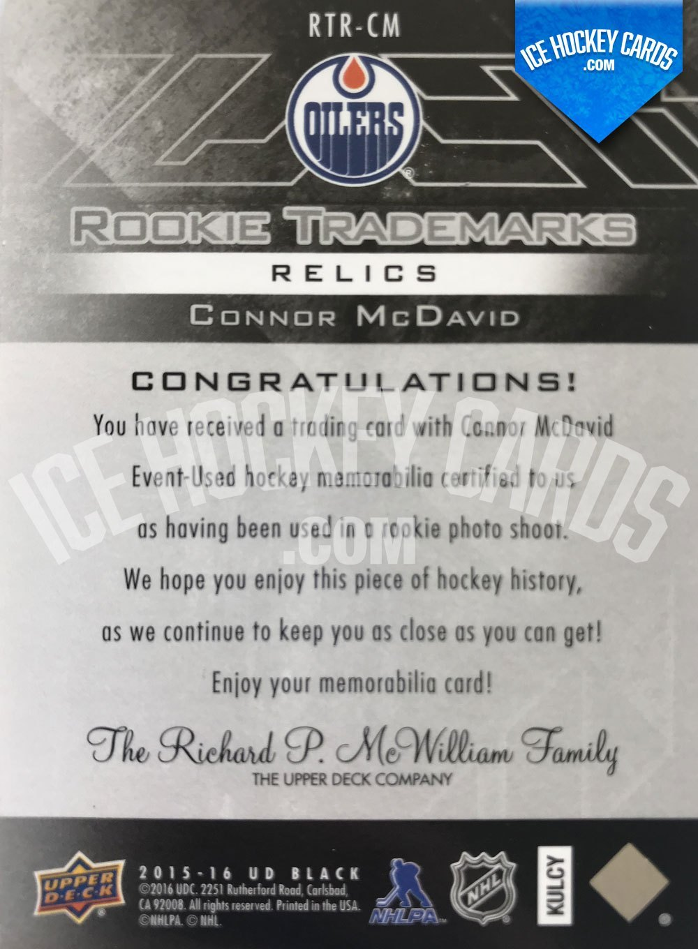 Upper Deck - Black Diamond 15-16 - Connor McDavid Rookie Relics Card back