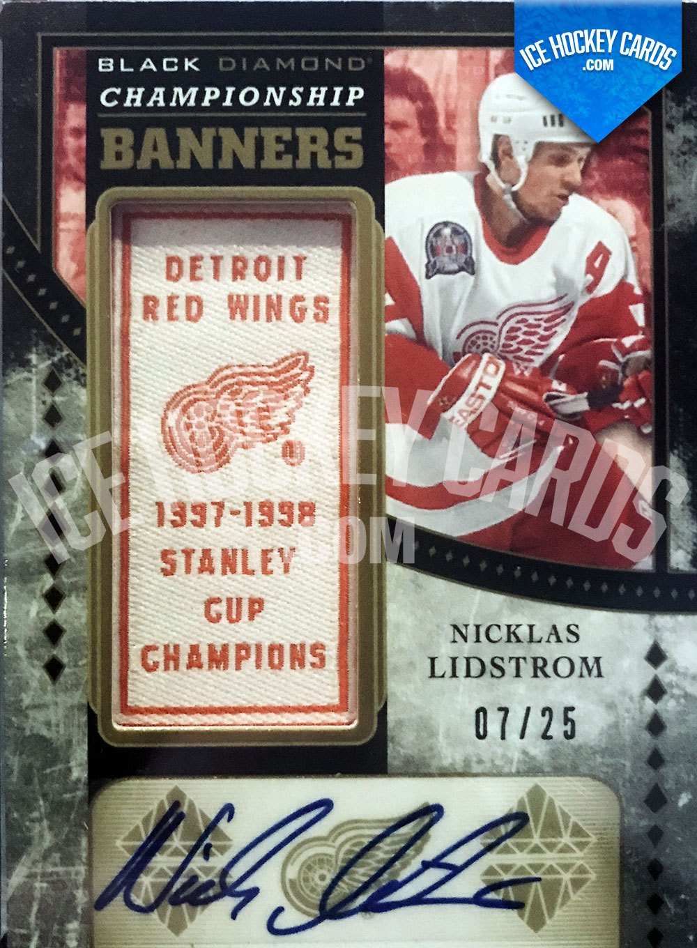 Upper Deck - Black Diamond 19-20 - Nicklas Lidstrom Championship Banners Auto Patch 7 of 25 RARE