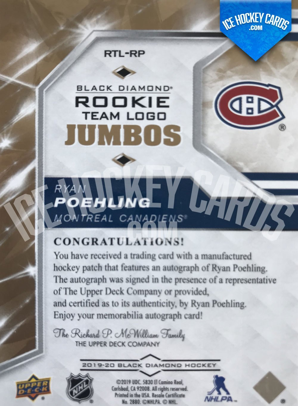 Upper Deck - Black Diamond 19-20 - Ryan Poehling Team Logo Jumbos Rookie Auto back