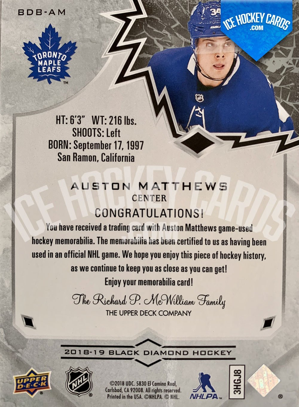 Upper Deck - Black Diamond 2018-19 - Auston Matthews Relics Base Card back