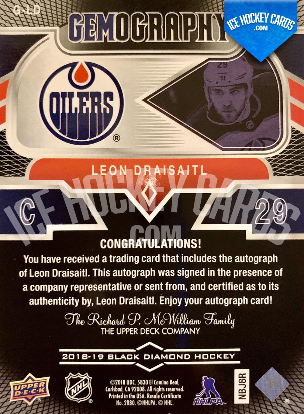 Upper Deck - Black Diamond 2018-19 - Leon Draisaitl Gemography Autograph - 2nd Card back