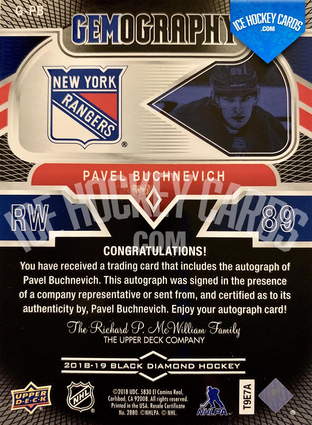 Upper Deck - Black Diamond 2018-19 - Pavel Buchnevich Gemography Autograph back