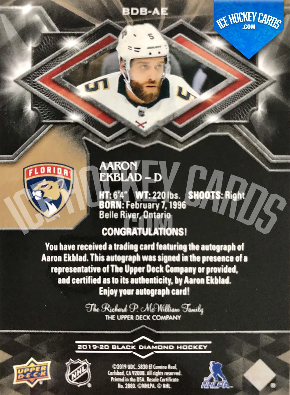 Upper Deck - Black Diamond 2019-20 - Aaron Ekblad Authentic Signature # to 99 back