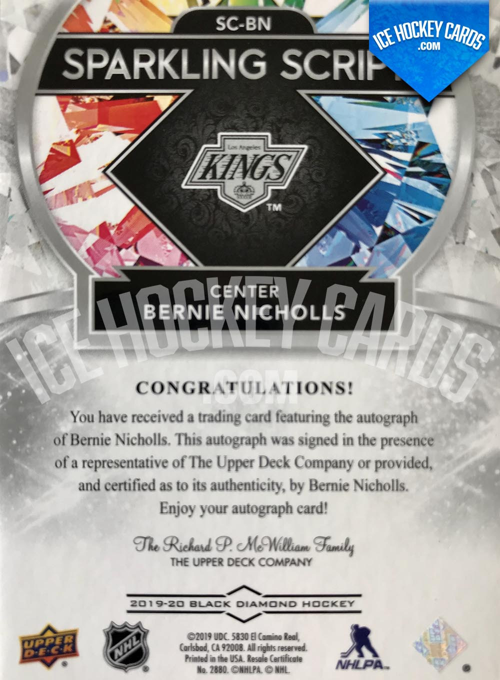 Upper Deck - Black Diamond 2019-20 - Bernie Nicholls Sparkling Scripts Autograph back