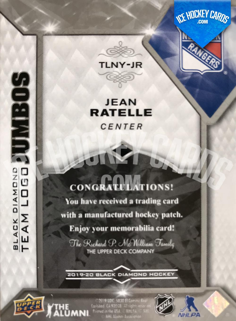 Upper Deck - Black Diamond 2019-20 - Jean Ratelle The Alumni Team Logo Jumbos Card back