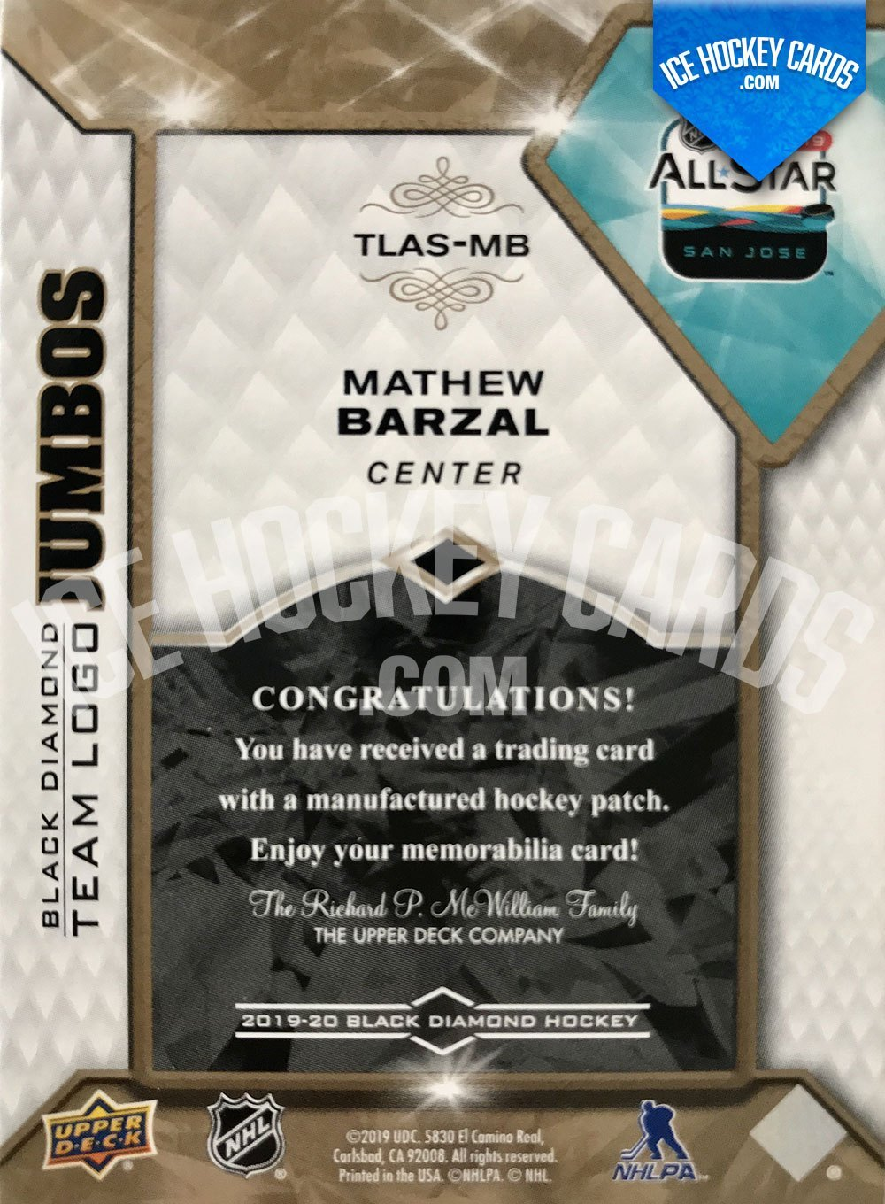 Upper Deck - Black Diamond 2019-20 - Mathew Barzal All-Star Team Logo Jumbos up to 15 cards back RARE