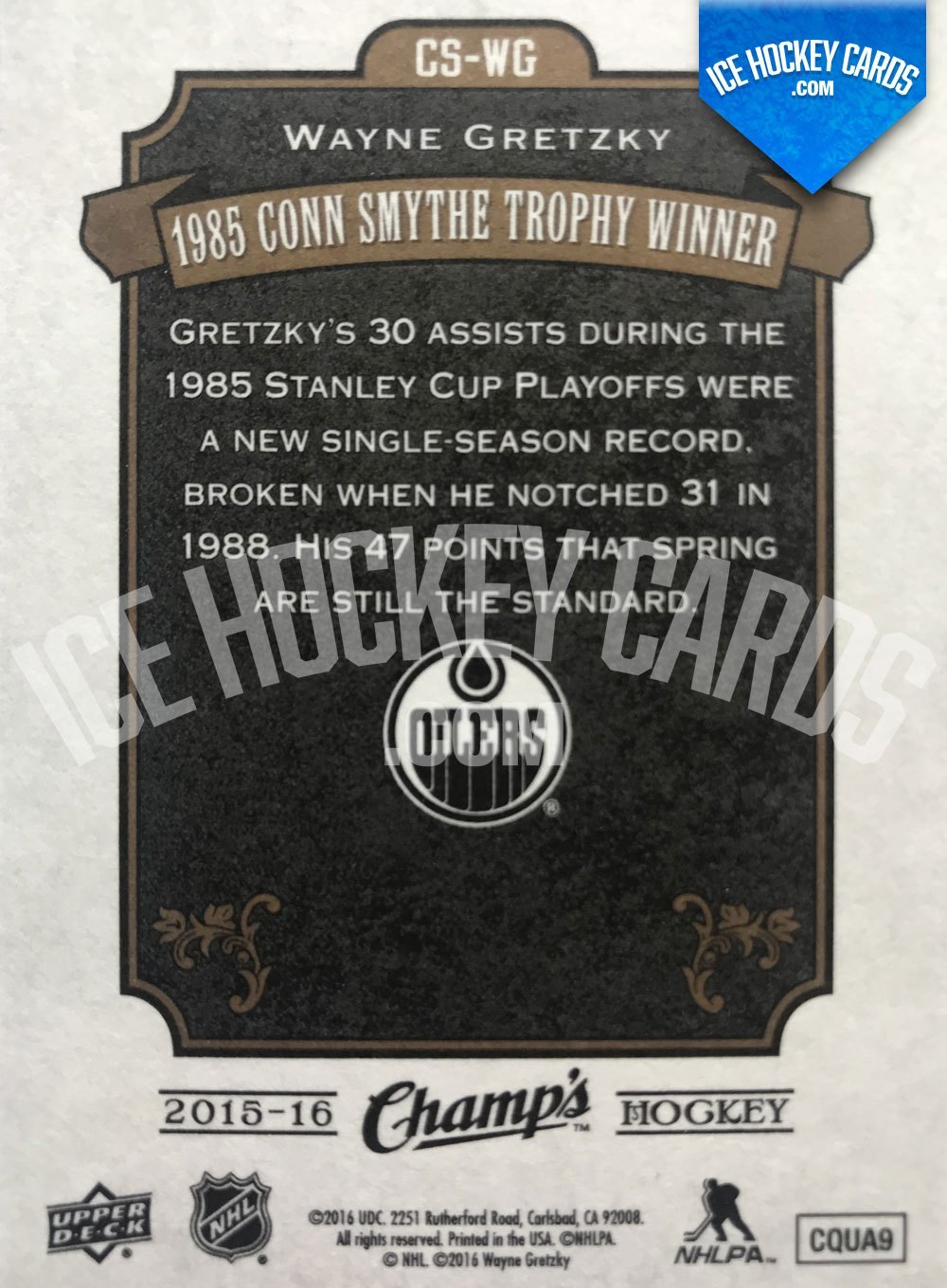 Upper Deck - Champs 15-16 - Wayne Gretzky 1985 Conn Smythe Trophy Winner back