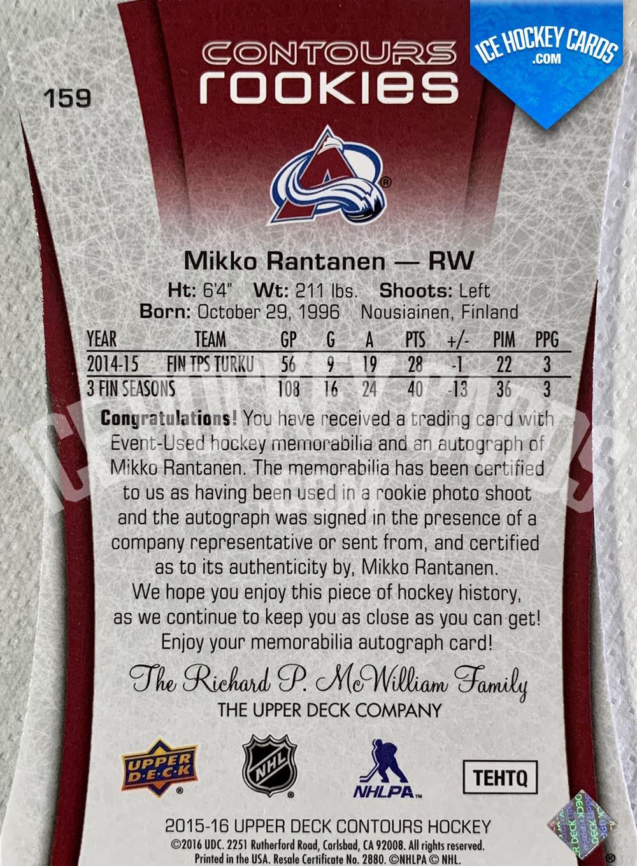 Upper Deck - Contours 2015-16 - Mikko Rantanen Contours Rookies Auto Patch RC back