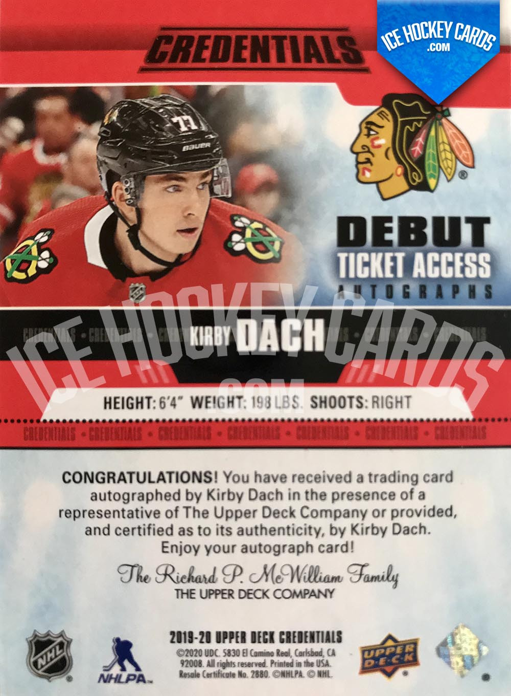 Upper Deck - Credentials 2019-20 - Kirby Dach Debut Ticket Access Autographs Rookie Card back