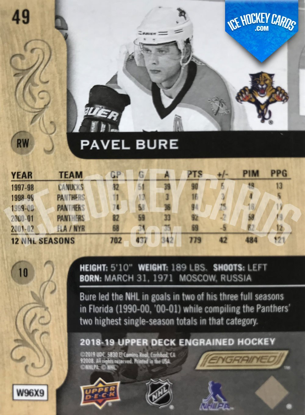 "Upper Deck - Engrained 18-19 - Pavel Bure ""Russian Rocket"" Base Card back"