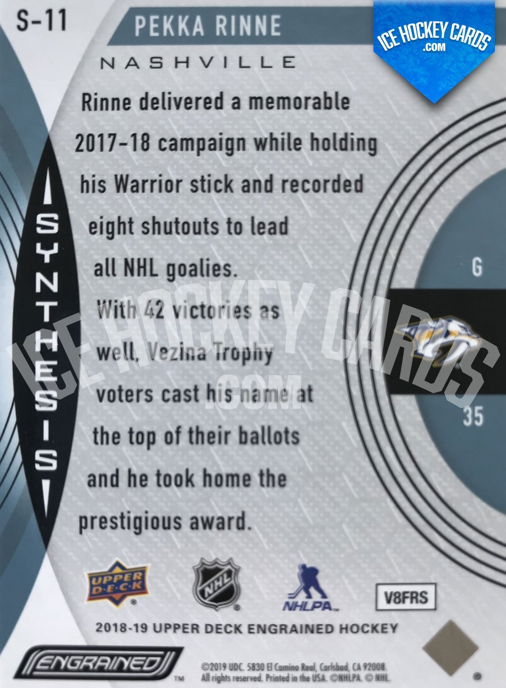 Upper Deck - Engrained 18-19 - Pekka Rinne Synthesis back