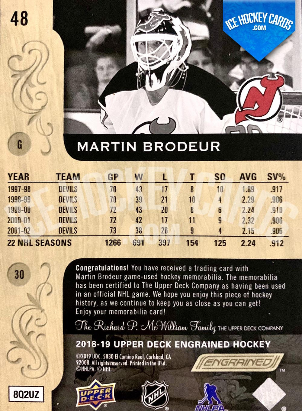 Upper Deck - Engrained 2018-19 - Martin Brodeur Patch Card # to 10 RARE back