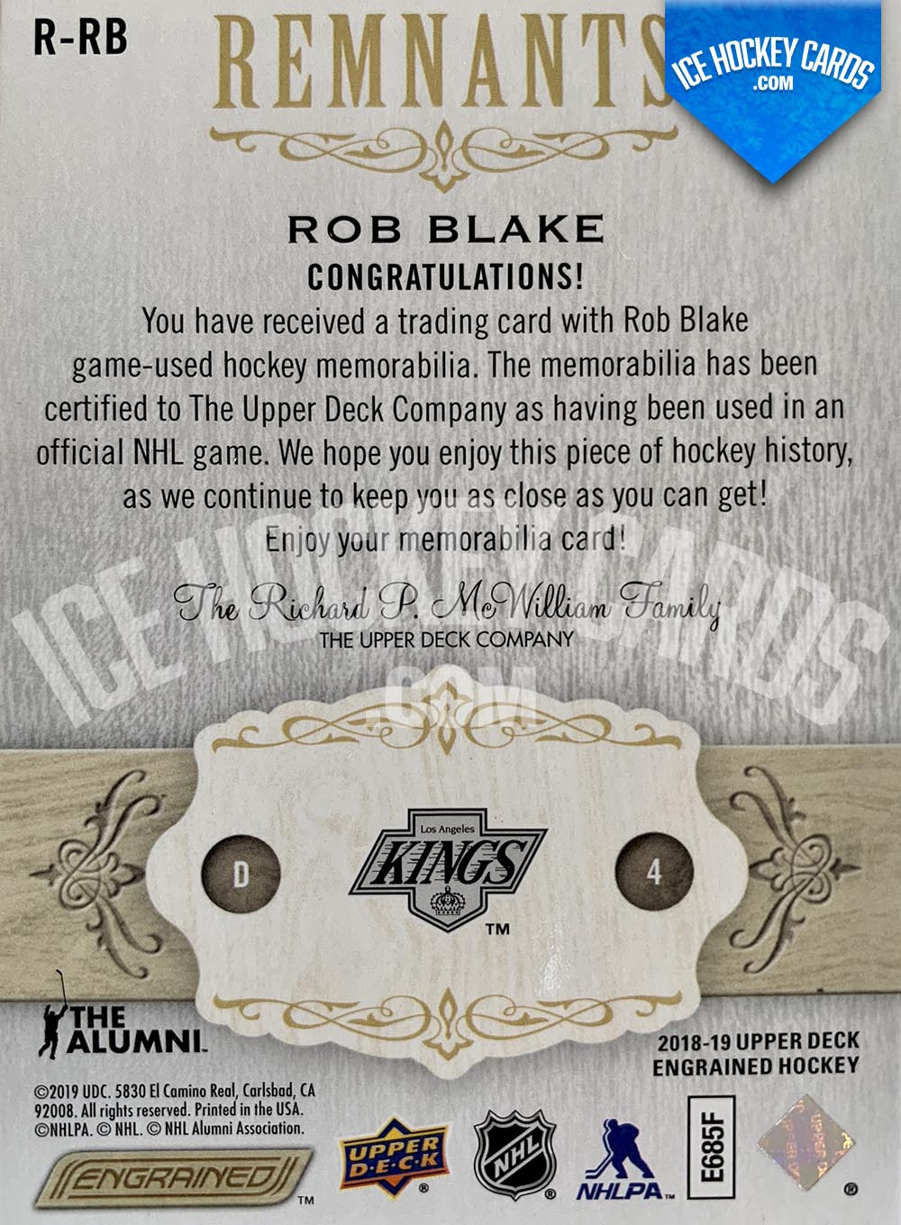 Upper Deck - Engrained 2018-19 - Rob Blake The Alumni Remnants Sticks Game-Used # to 100 back
