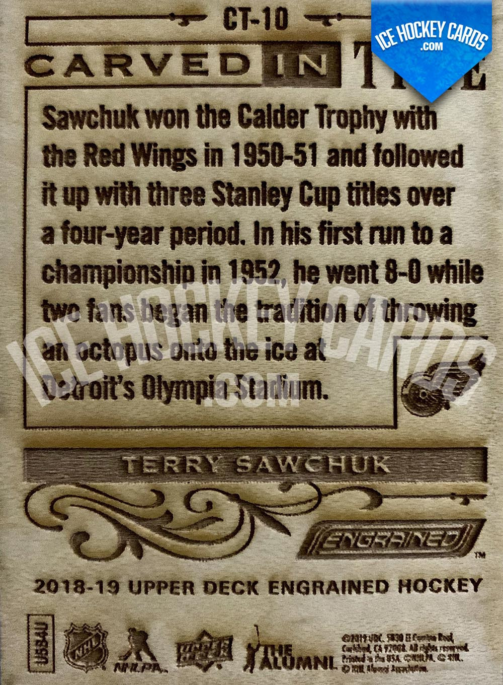 Upper Deck - Engrained 2018-19 - Terry Sawchuk Carved In Time Wooden Card RARE back