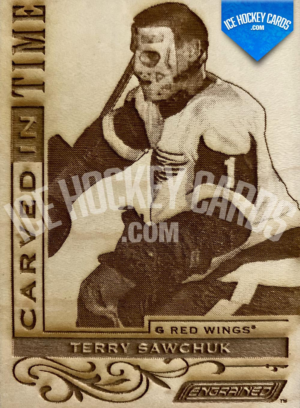 Upper Deck - Engrained 2018-19 - Terry Sawchuk Carved In Time Wooden Card RARE