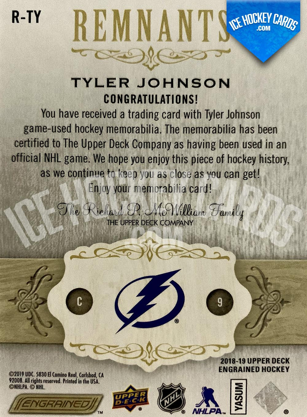 Upper Deck - Engrained 2018-19 - Tyler Johnson Remnants Sticks Game-Used # to 100 back