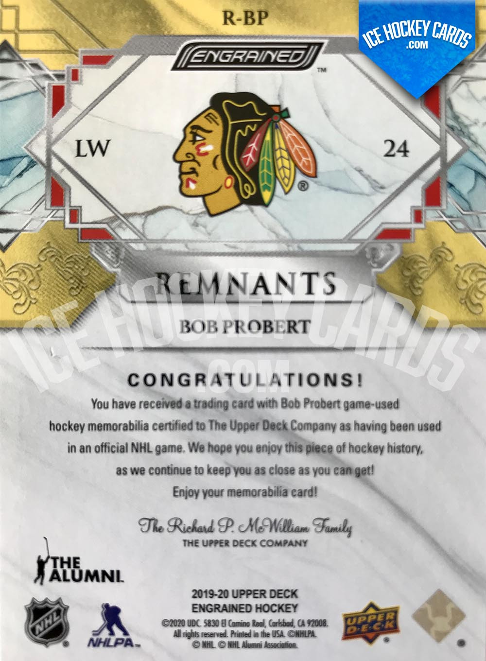 Upper Deck - Engrained 2019-20 - Bob Probert The Alumni Remnants Sticks Card # to 100 back