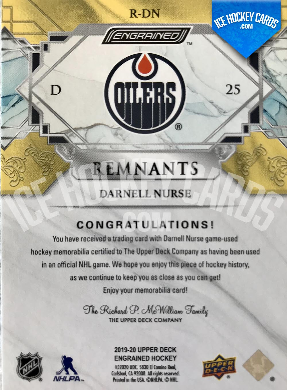 Upper Deck - Engrained 2019-20 - Darnell Nurse Remnants Sticks Gold Card # to 65 back