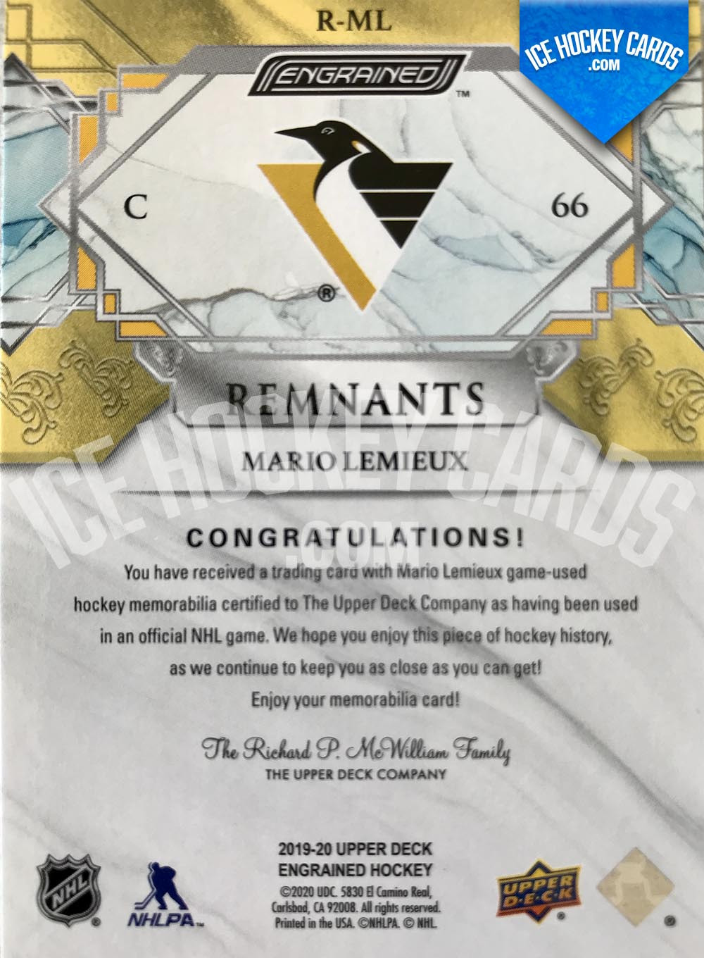 Upper Deck - Engrained 2019-20 - Mario Lemieux Remnants Sticks Game-Used # to 100 back