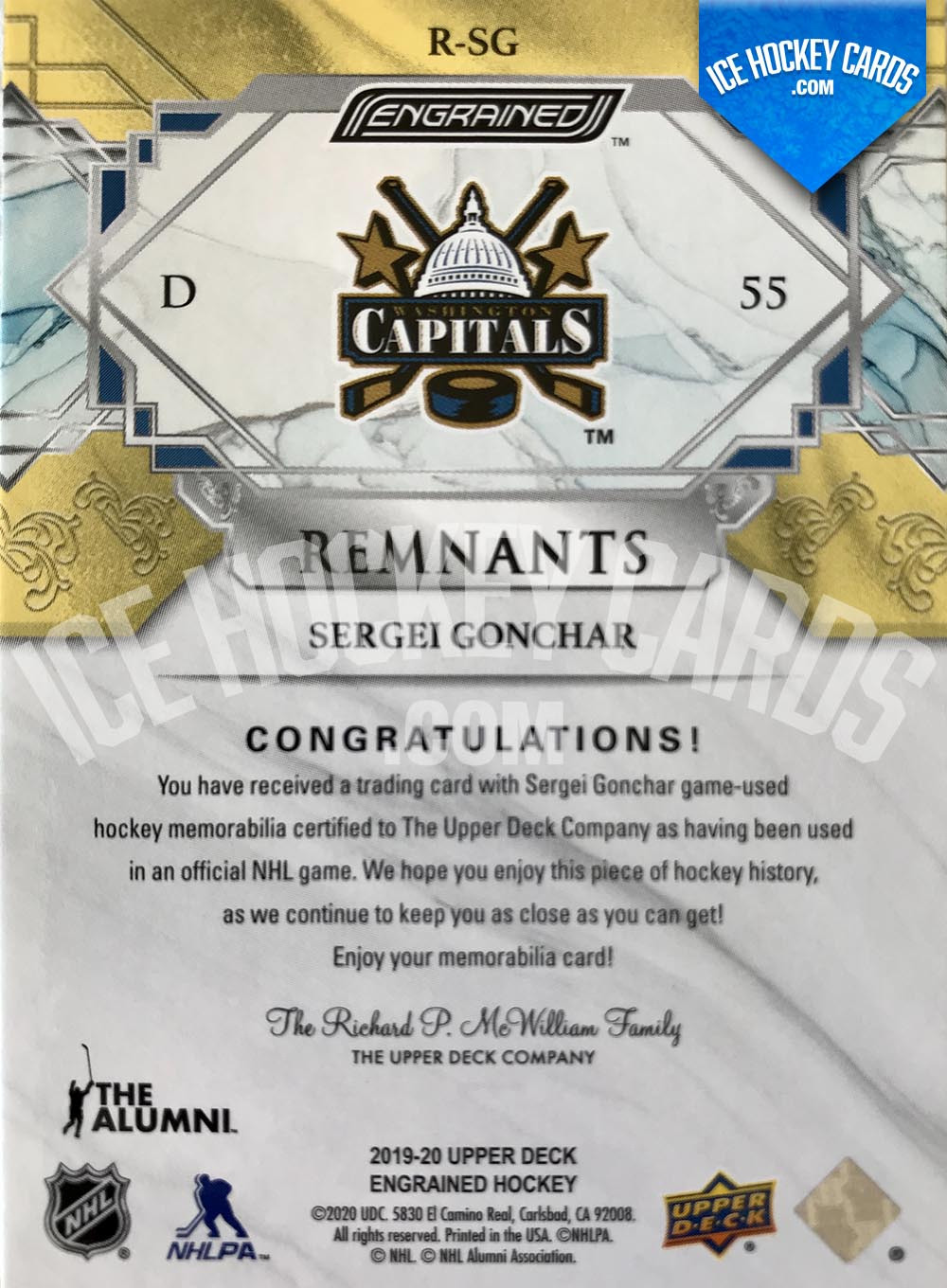 Upper Deck - Engrained 2019-20 - Sergei Gonchar The Alumni Remnants Sticks Gold Card # to 35 back