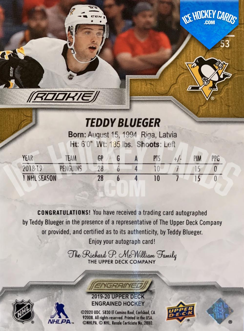 Upper Deck - Engrained 2019-20 - Teddy Blueger Autographed Rookie Card back