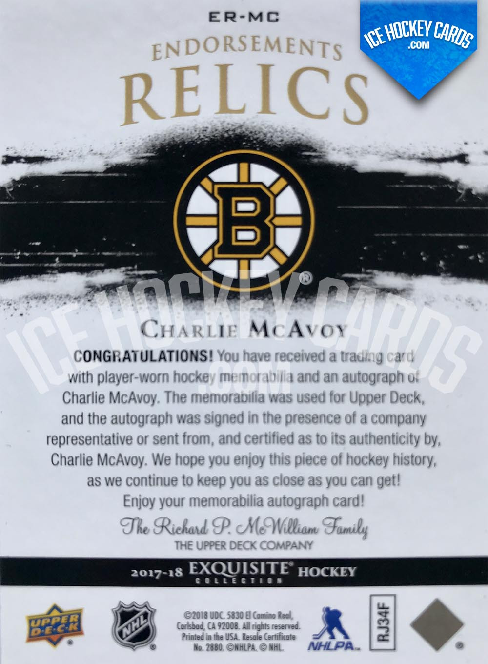 Upper Deck - Exquisite Collection 2017-18 - Charlie McAvoy Endorsements Relics Auto Patch Card # to 50 back