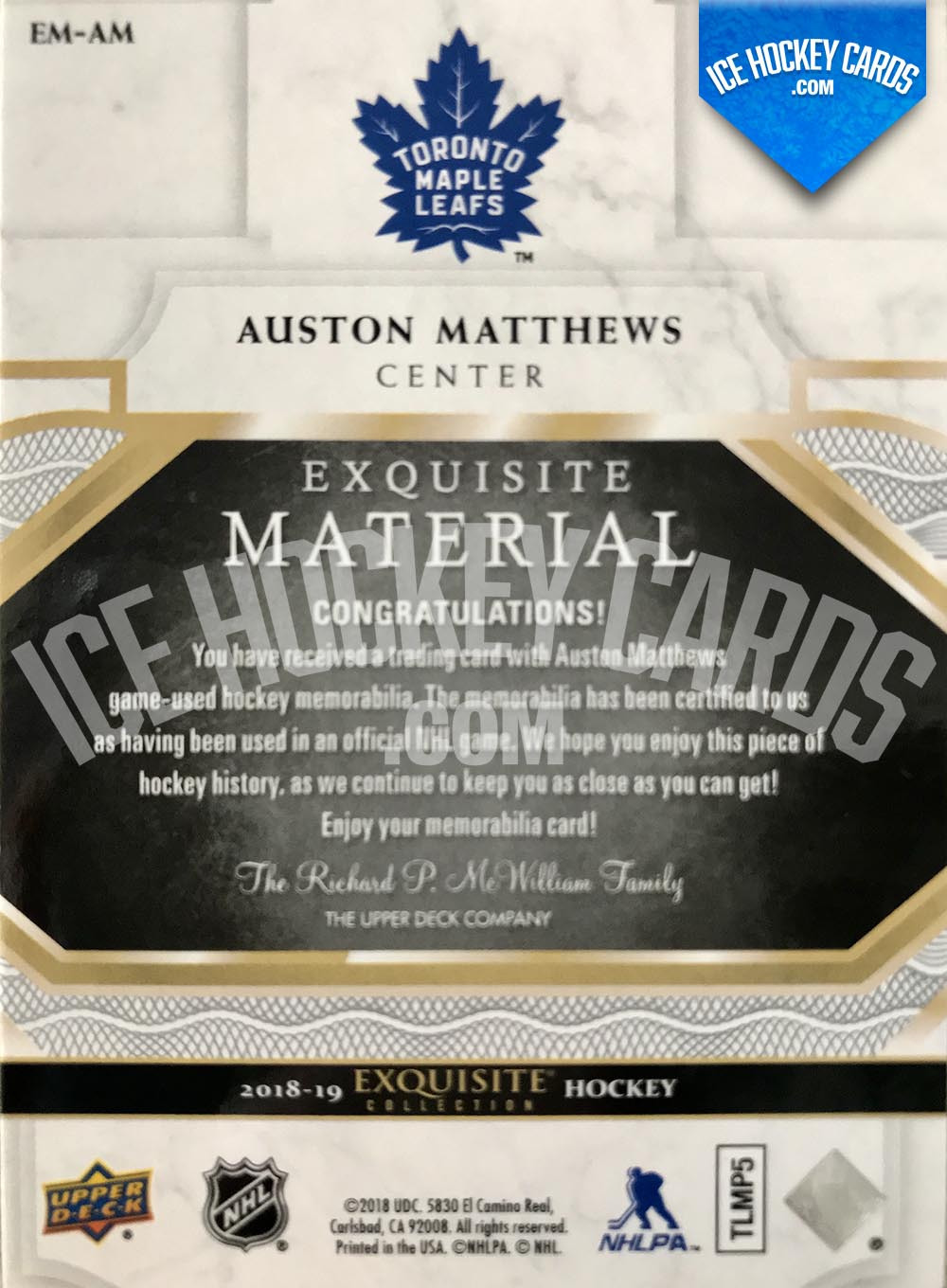 Upper Deck - Exquisite Collection 2018-19 - Auston Matthews Premium Material Patch Card # to 34 RARE back