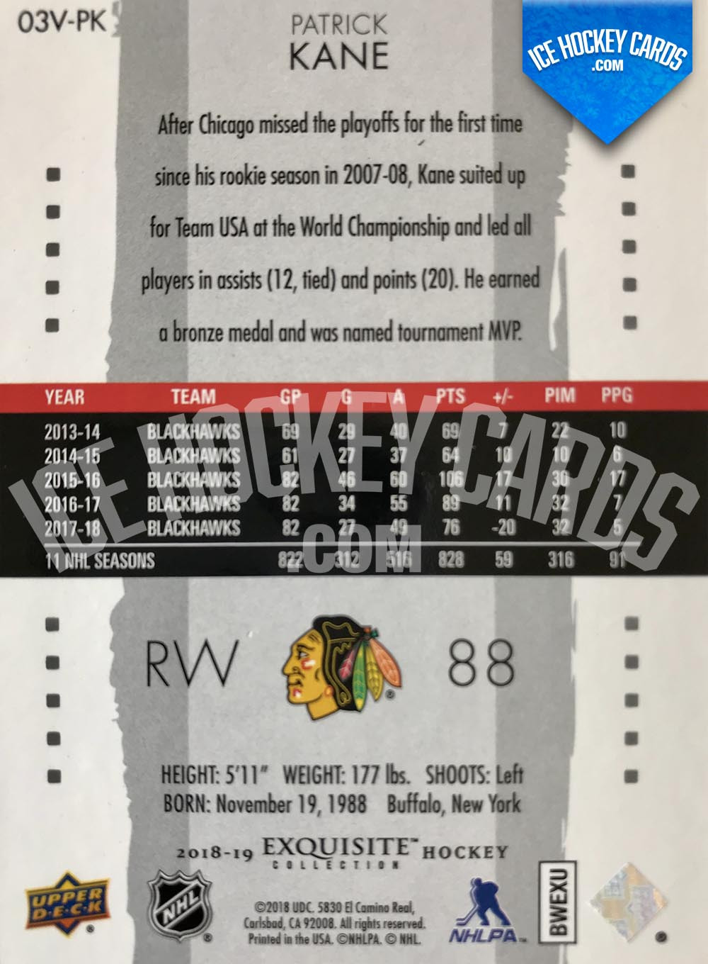 Upper Deck - Exquisite Collection 2018-19 - Patrick Kane Retro Exquisite Card # to 99 back
