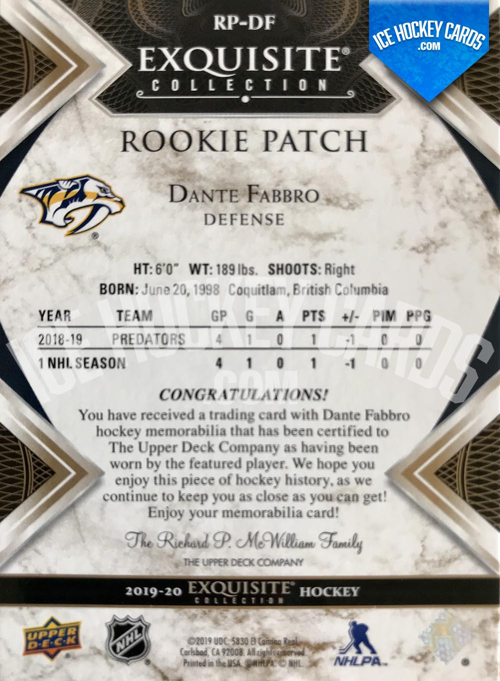 Upper-Deck-Exquisite-Collection-2019-20-Dante-Fabbro-Exquisite-Collection-Rookie-Patch-Card-to-25-back