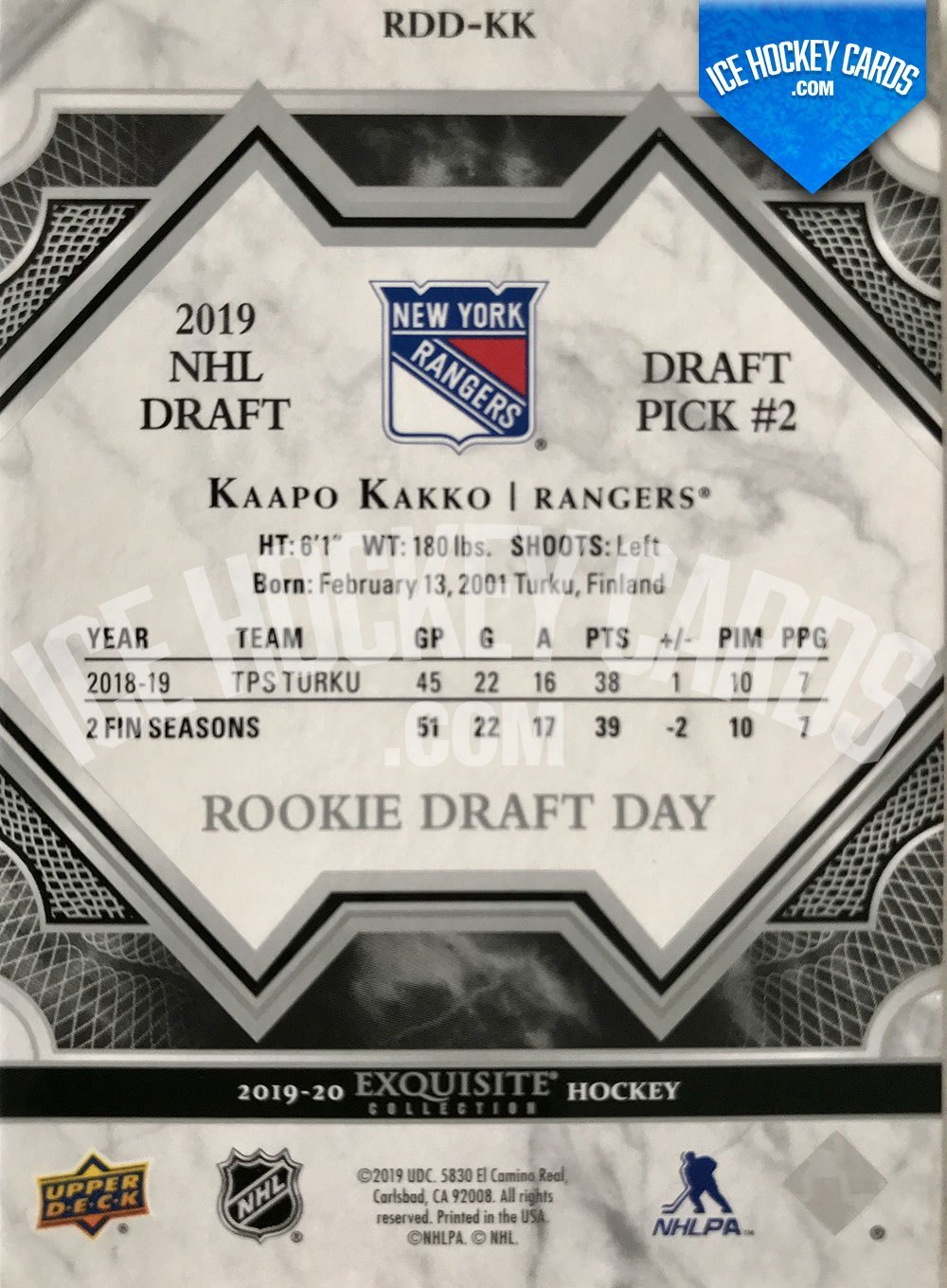 Upper Deck - Exquisite Collection 2019-20 - Kaapo Kakko Rookie Draft Day - 2019 NHL Draft Pick #2 back