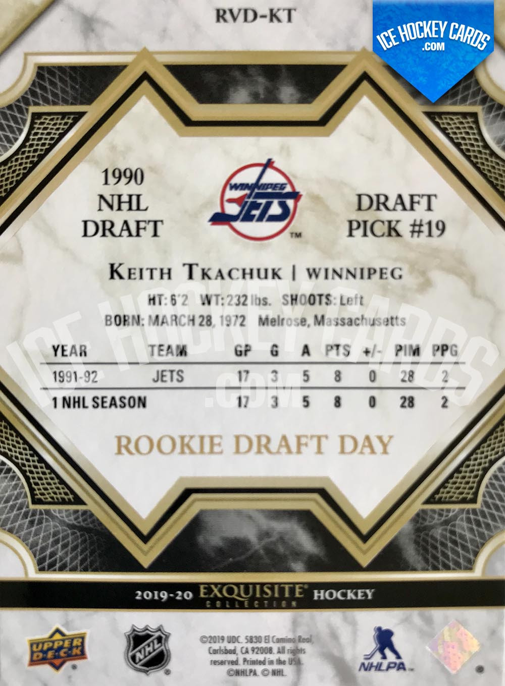 Upper Deck - Exquisite Collection 2019-20 - Keith Tkachuk Rookie Draft Day 1990 NHL Draft Pick #19 back