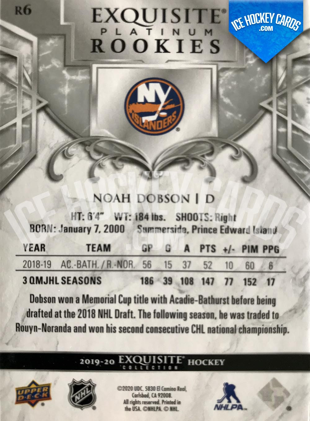 Upper Deck - Exquisite Collection 2019-20 - Noah Dobson Exquisite Platinum Rookies Card back