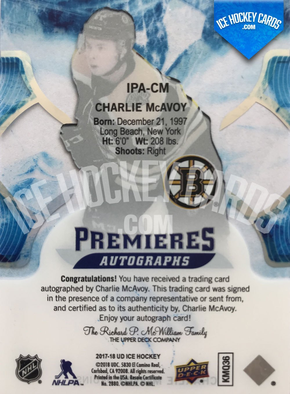 Upper Deck - ICE 17-18 - Charlie McAvoy Premieres Autographs Rookie Card back