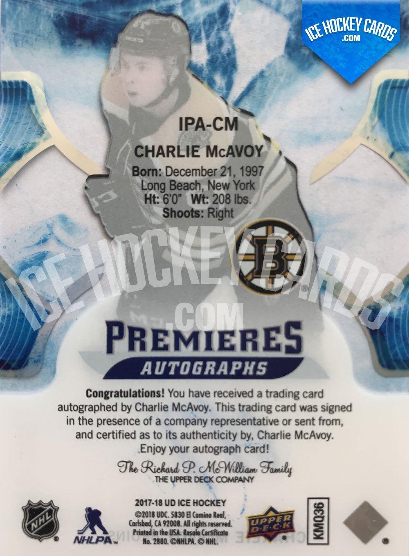 Upper Deck - ICE 17-18 - Charlie McAvoy Premieres Autographs Rookie Card back