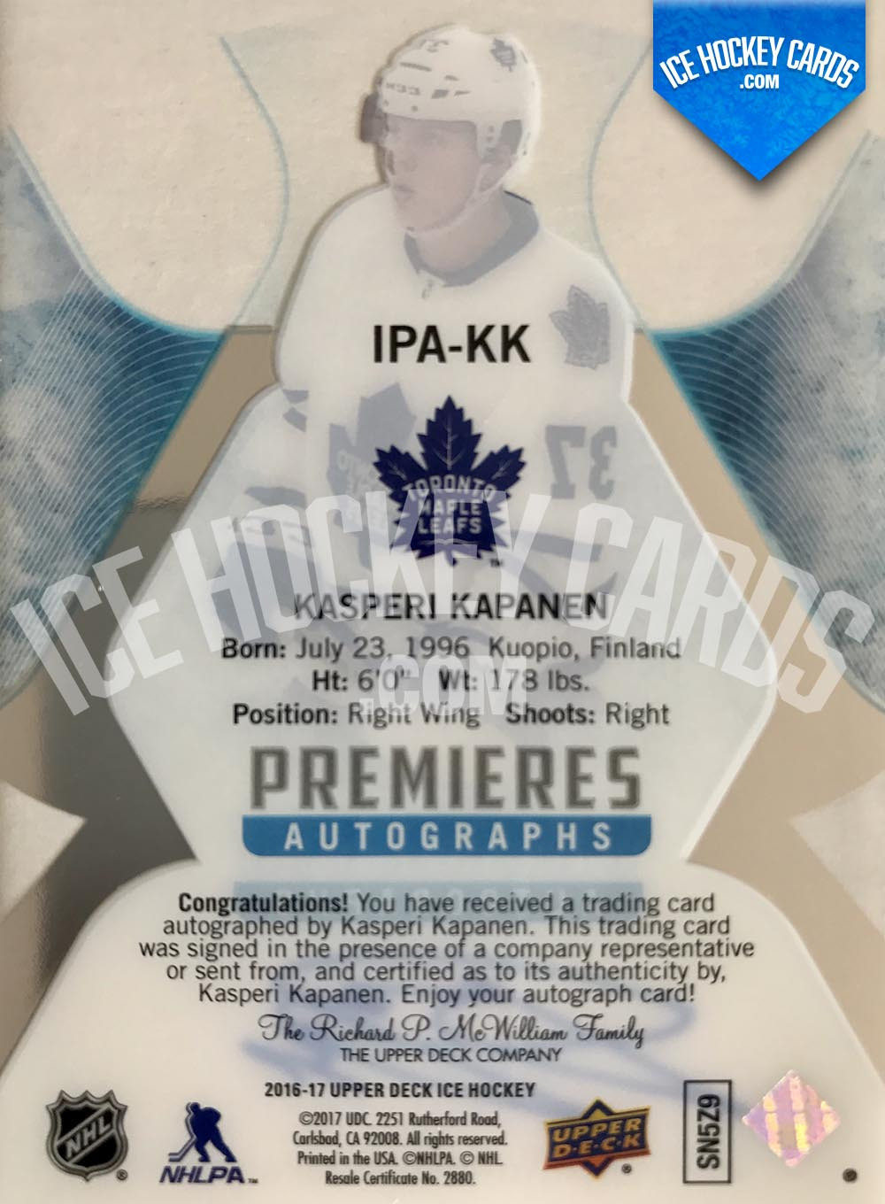 Upper Deck - ICE 2016-17 - Kasperi Kapanen Ice Premieres Autographs Rookie Auto back