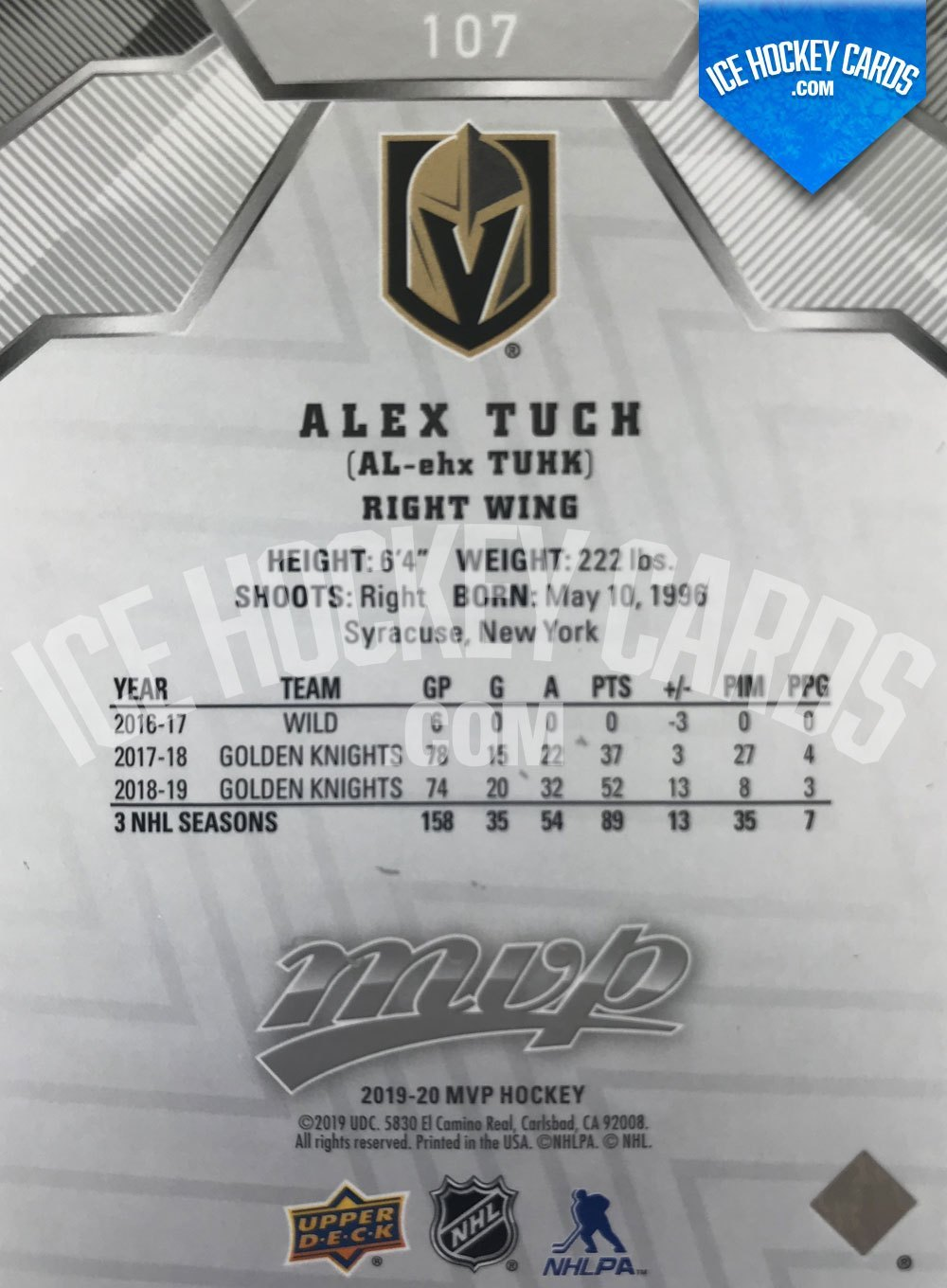 Upper Deck - MVP 19-20 - Alex Tuch MVP Scripts 11 of 25 back