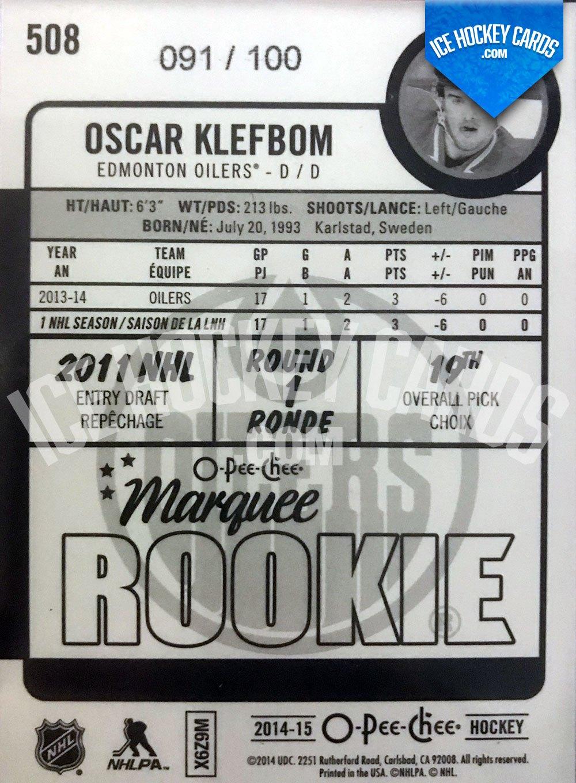 Upper Deck - O-Pee-Chee Platinum 14-15 - Oscar Klefbom Marquee Rookie RC back